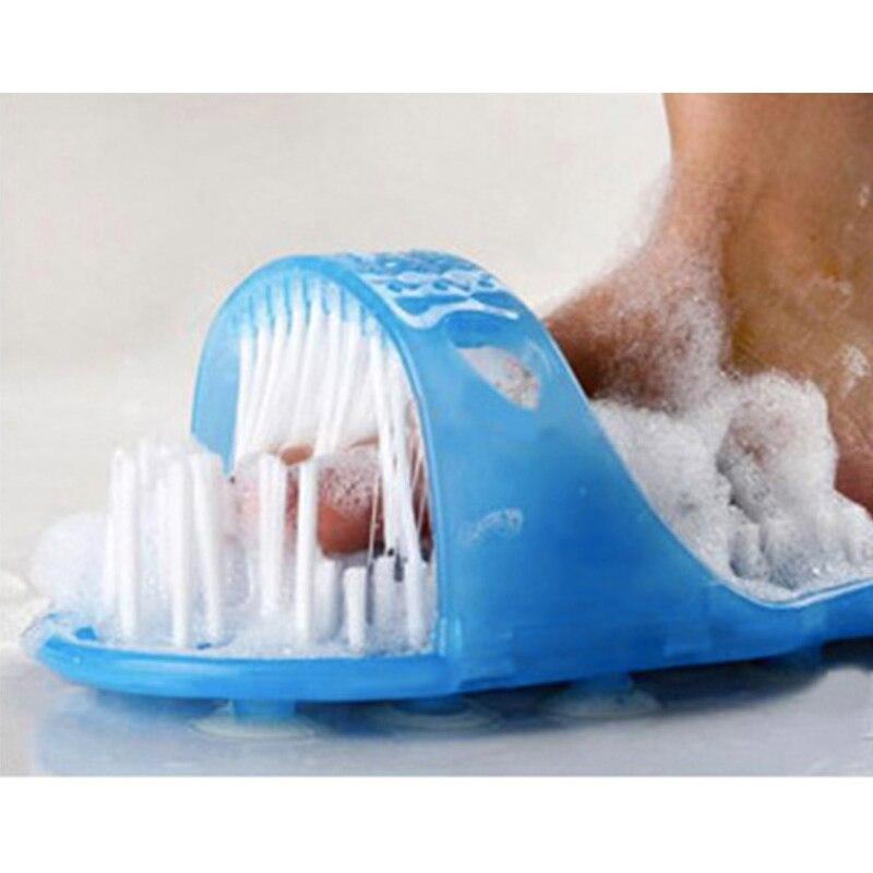 Heißer Kunststoff Bad Schuh Bimsstein Fuß Wäscher Dusche Pinsel Massager Hausschuhe Blau