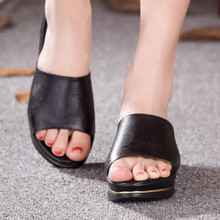 New Brand Cowhide Height Increase Women Summer Slippers Open Toe Platform Sandals Casual Medium Heel Wedge Offce Shoes Plus Size