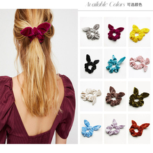 Hot Sale 12pcs 12 Color Bunny Ear Velvet Scrunchies Knot Bow Elastic Hair Band Girls Rope Ponytail Holder Tie Bracelet