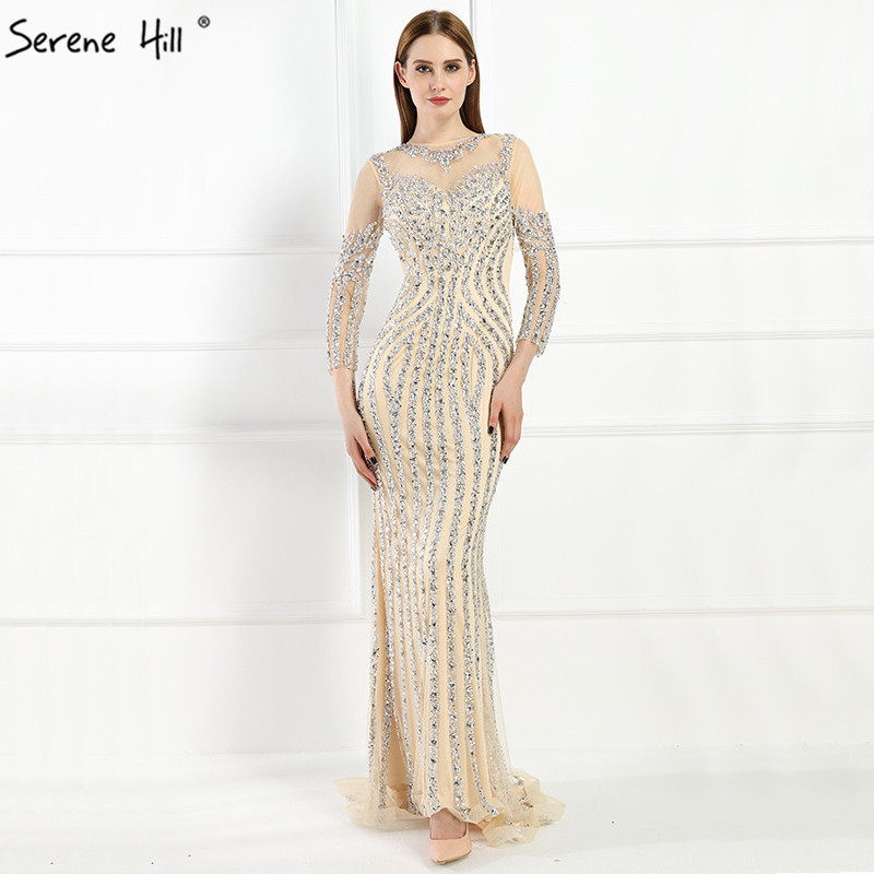 Luxury  Long Sleeves  Sexy Diamond Sequined Mermaid Evening Dresses Sparkly Evening Gown  2019  Real Photo  LA6591 Plus Size