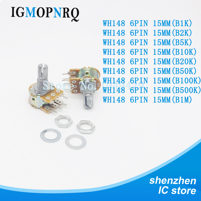 10pcs Dual Stereo Potentiometer B1K B2K B5K B10K B20K B50K B100 B500K shaft 15mm 15 shaft =15 6Pin Shaft WH148 Amplifier