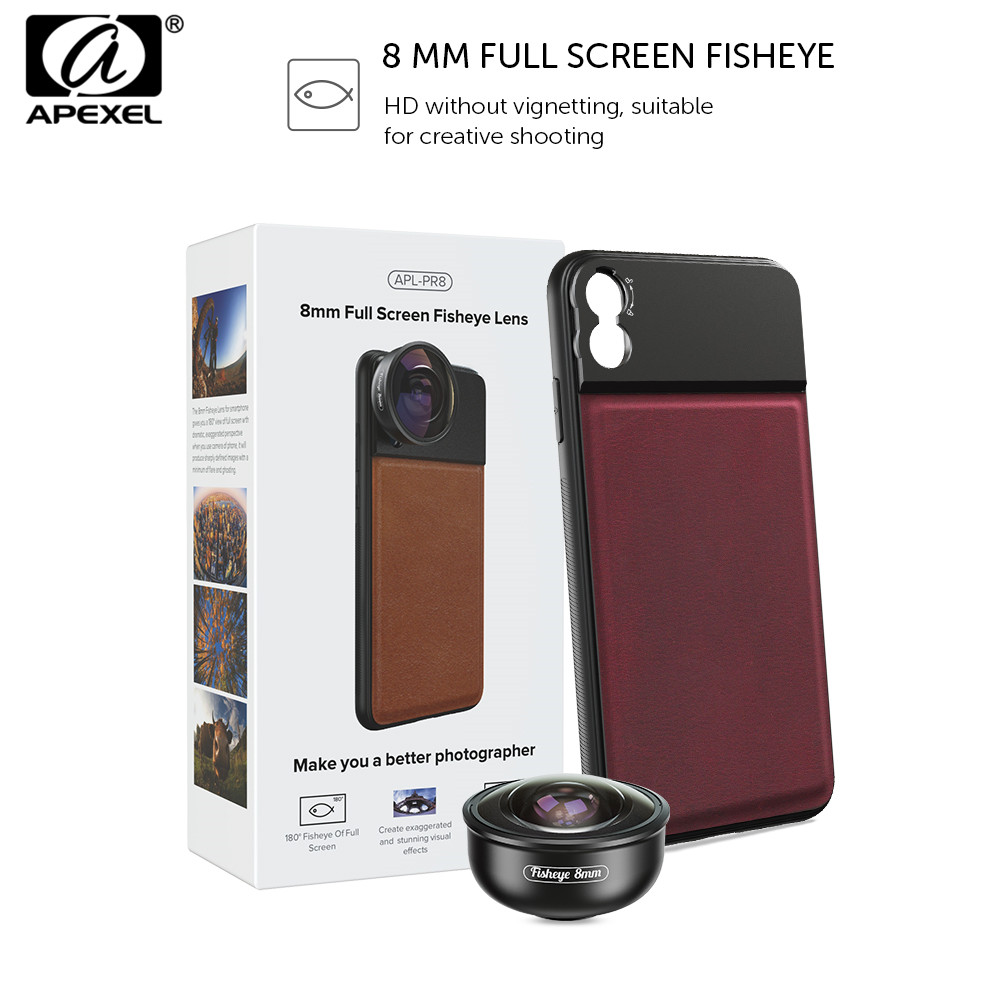 APEXEL Full Frame 185 Degree Phone Camera Fisheye Lens 8mm HD Mobile Lens With 17mm Cellphone Case For iPhone Samsung Xiaomi 9