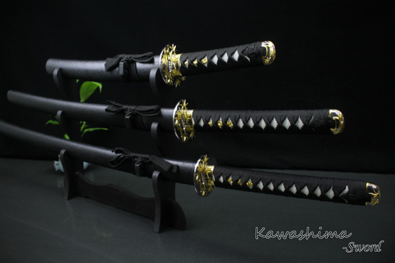 3PCS Samurai Swords Set With Display Stand Hand Forged 1045Carbon Steel Home Decoration Supply Bamboo Tsuba