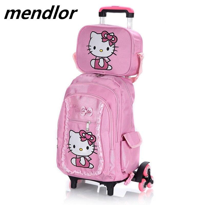 05e67368c7 Hello Kitty Children School Bags set Mochilas Kids Backpacks With Six  Wheels Trolley Luggage For Girls