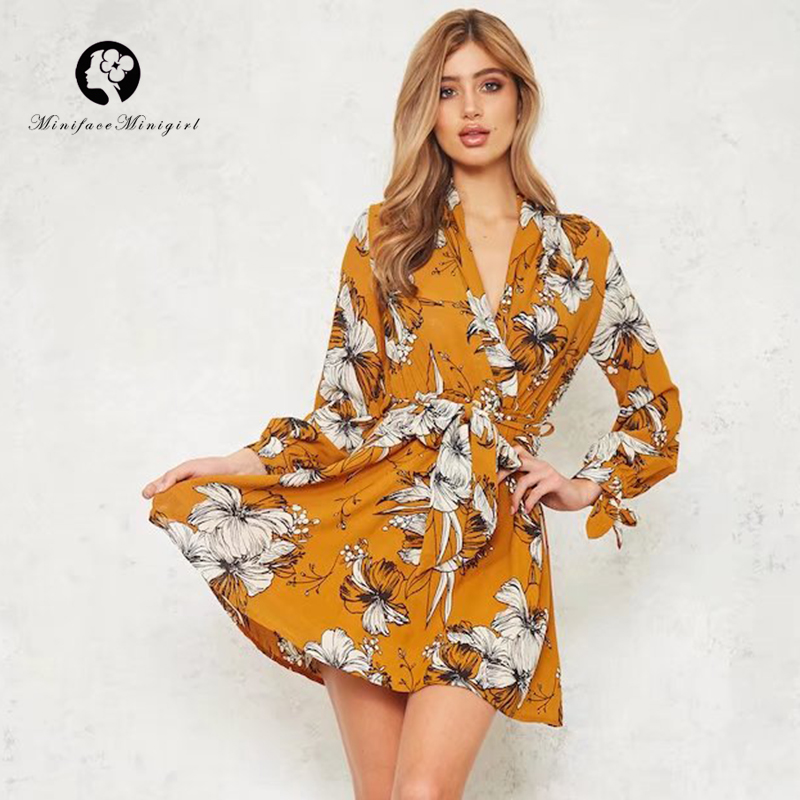 Summer Floral Print Women Dress Yellow Mini Dress Full Sleeve with Sashes Female Beach Casual Party Vestidos 2018