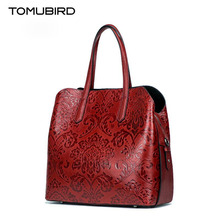 2017 New TOMUBIRD superior cowhide leather Designer Classic Embossed Floral genuine leather tote women Shoulder Handbags