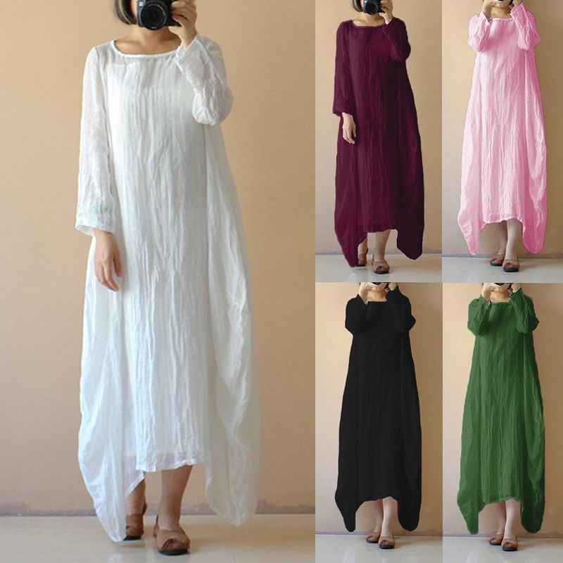 36a0d14f8a6 Summer Fall Women Retro Cotton Linen Long Sleeve O-Neck Vestido 2018 Boho  Kaftan Tunic
