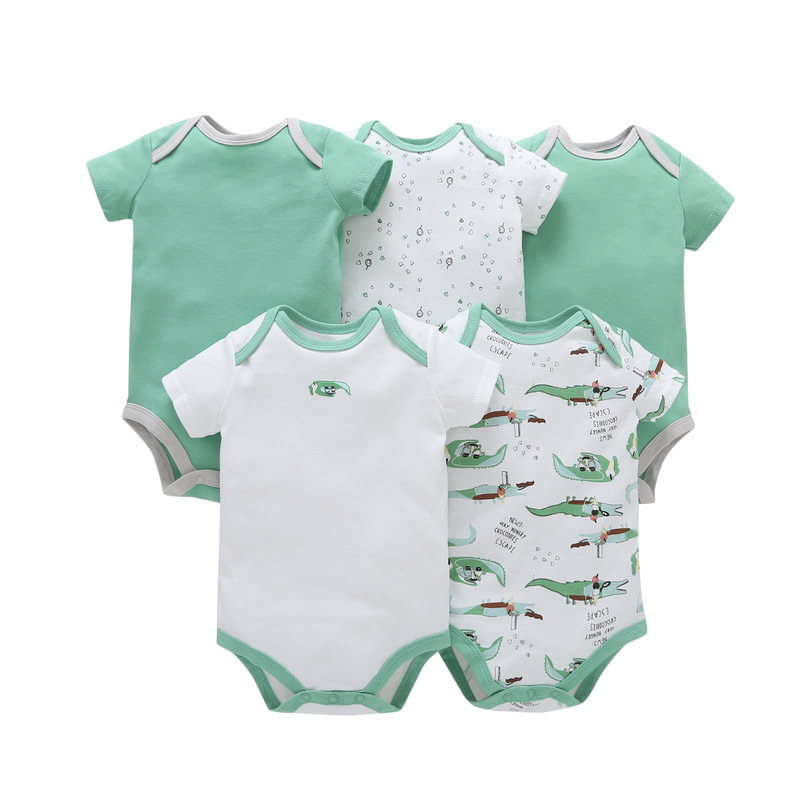 5Pcs/Lot Summer Baby Boy Girl Bodysuits Set Solid Short Sleeves Cotton Baby Bodysuits Baby Girl Climb Clothes Sets