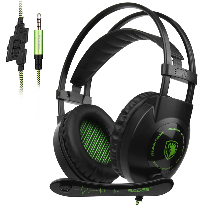 SADES SA801 Stereo Gaming Headset Game Headphone helmet 3.5mm Wired with Mic Volume Control for Xbox One PS4 Laptop PC Gamer