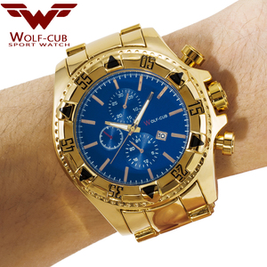 Image 5 - יפן תנועת זהב שעונים גברים של Relogios Subaqua Masculino שעוני יד יוקרה מותג קוורץ שעון (צבע: זהב, כחול) זאב קאב