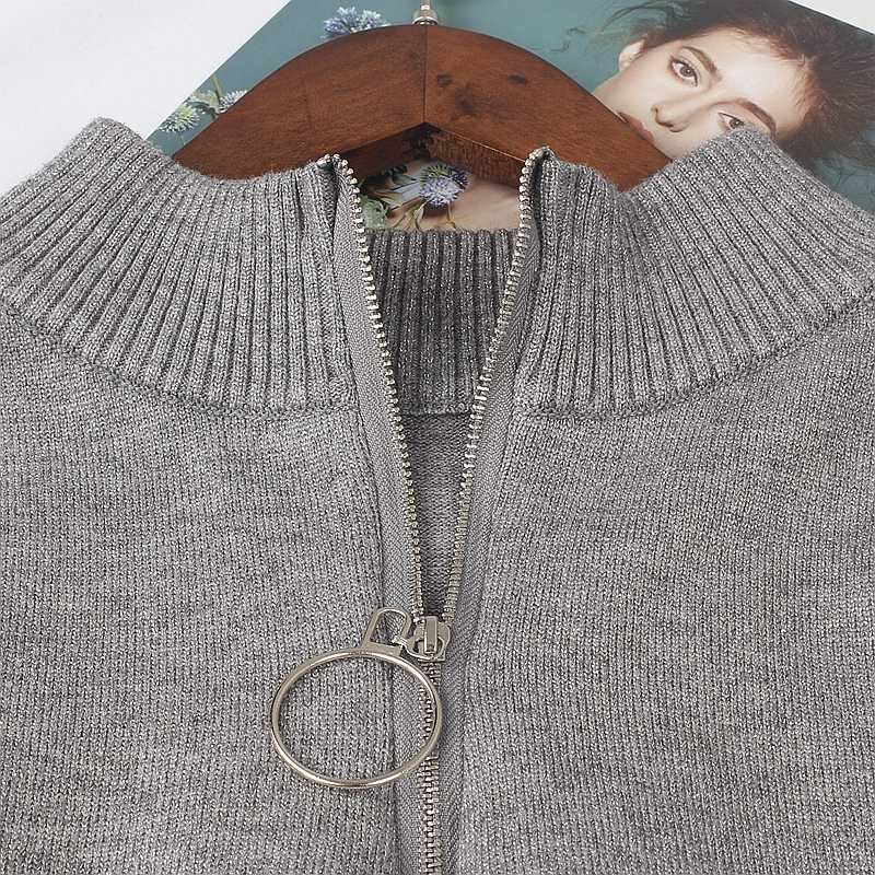 GIGOGOU, блестящий вязаный женский пуловер с люрексом, свитер, Осень-зима, теплая верхняя одежда, повседневный джемпер, топ на молнии, женский свитер