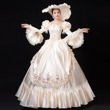 Индивидуальные осенние белые с квадратным воротником Длинные с расклешенными рукавами женские вечерние платья европейский стиль Marie Antoinette Бальные платья
