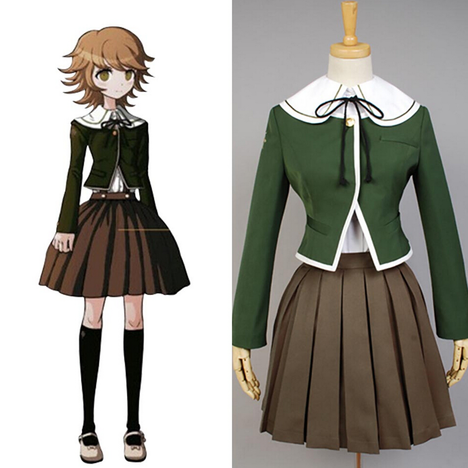 Danganronpa Dangan Ronpa Chihiro Fujisaki Cosplay Uniform Coat Skirt Shirt For Adult Women Girls Anime Halloween Party Full Set