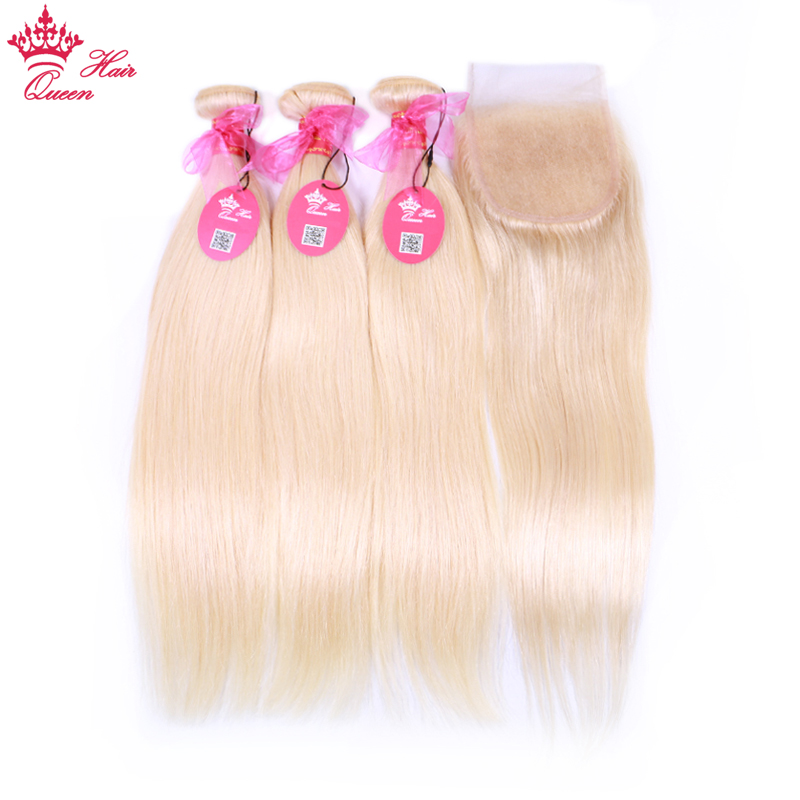 Queen Hair Products 613 Blonde Brazilian Human Hair Weave Bundles with Closure Straight Bundles with Lace