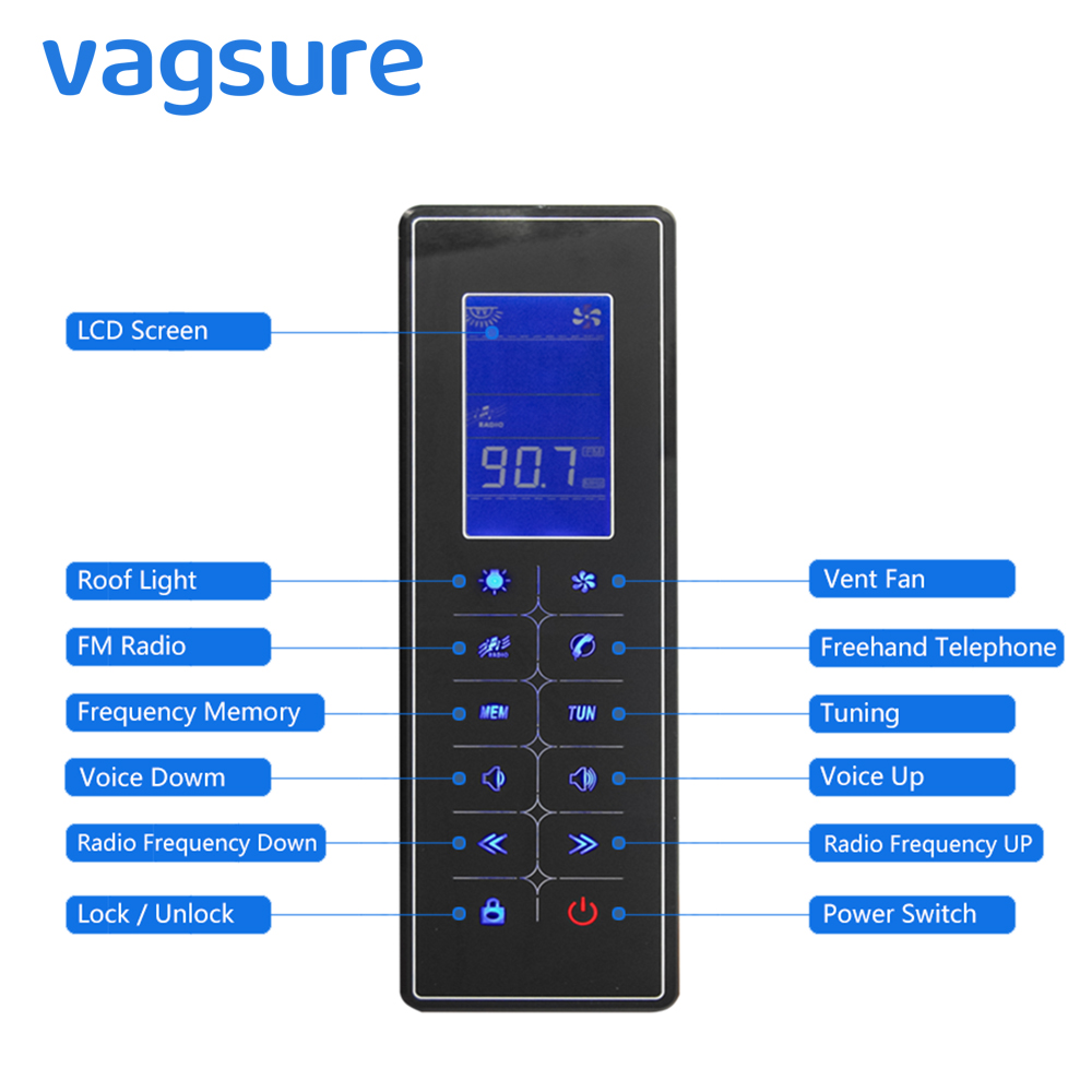 Vagsure 1Pcs Controller Touch Screen LCD Dispaly Shower Control Panel Freehand Tel Speaker FM Radio Vent Fan Lamp Accessories black lcd display shower cabinet radio control set shower led light speaker vent fan control panel