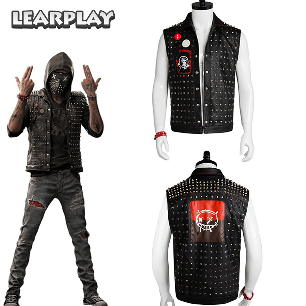 Watch Dogs 2 Wrench Cosplay Rivets Vest&Mask and Badges WD 2 Dedsec Jacket Halloween Christmas Game Props for Men Adults Harley-Davidson Sportster