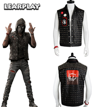 Watch Dogs 2 Wrench Cosplay Rivets Vest&Mask and Badges WD 2 Dedsec Jacket Halloween Christmas Game Props for Men Adults цена и фото