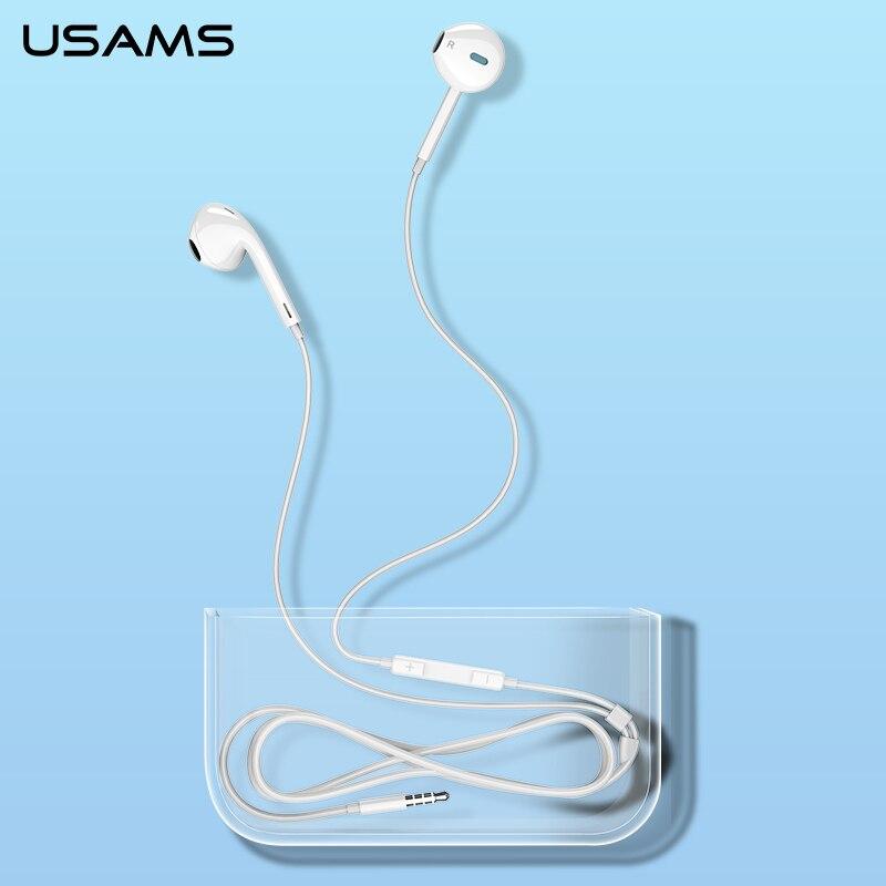 USAMS Original Mobile Earphone for Huawei P20/Pro Xiaomi iPhone Button Control In Ear Earphone Soft Comfortable Earphone 1.2m