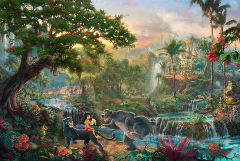 The Jungle Book Thomas Kinkade HD Canvas Print Living Room Bedroom Wall Pictures Art Painting Home Decoration No Frame