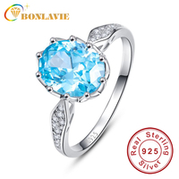 JQUEEN 4ct Blue Topaz Gem Stone Rings 925 Sterling Silver Oval Cut Simple Stylish Ring For