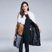 JKP натуральным лисьим мехом натуральный жилет Женское пальто без рукавов дизайн лиса Меховой жилет HPS 003