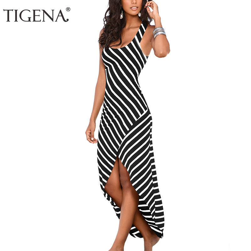 TIGENA Long Striped Women Summer Dress 2018 Spaghetti Strap Tunic Boho Beach Maxi Dress And Sundress Women Summer Robe Femme