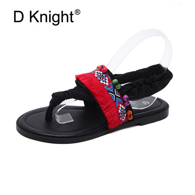 69e3ced99298e ... Girls New Beaded Arrival Summer Casual Sandals Fashion String Flats For  Flat Flip  Women s Sandals and Slippers Mid-Heel Flip-Flops Thick-Soled Non  ...