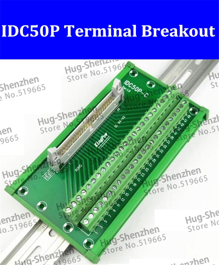 IDC50P IDC 50 Pin Male Connector to 50P Terminal Block Breakout Board Adapter PLC Relay Terminals DIN Rail Mounting--1pcs/lot 2pcs hdmi 2 0 hd adapter male connector breakout to 19p terminal board no need soldering high quality with housing shell
