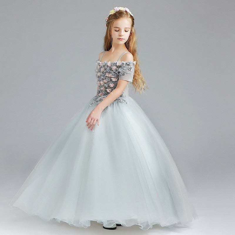 Girl Dress Princess Dress Kid Pageant Wedding Birthday Party Lace Sweet Formal