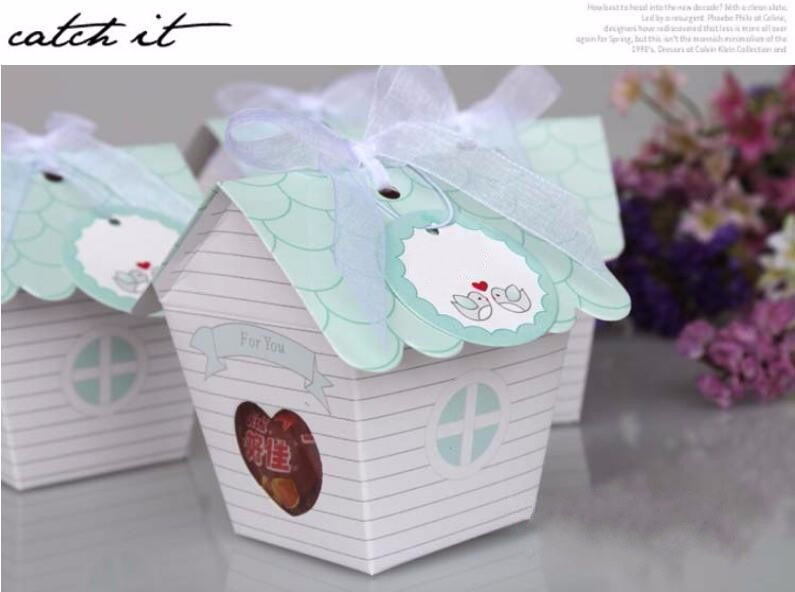 creative small house shape candy favor box chocolate bomboniere