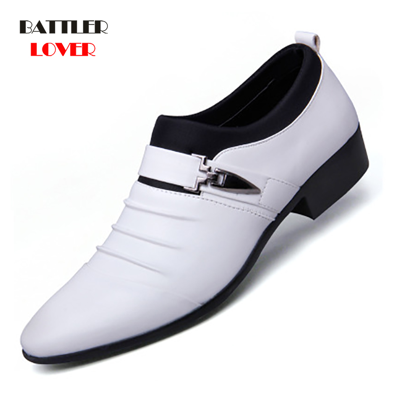 New British Men's Slip On Split Leather Pointed Toe Men Dress Shoes Business Wedding Oxfords Formal Shoes For Male 2018 38-48 image