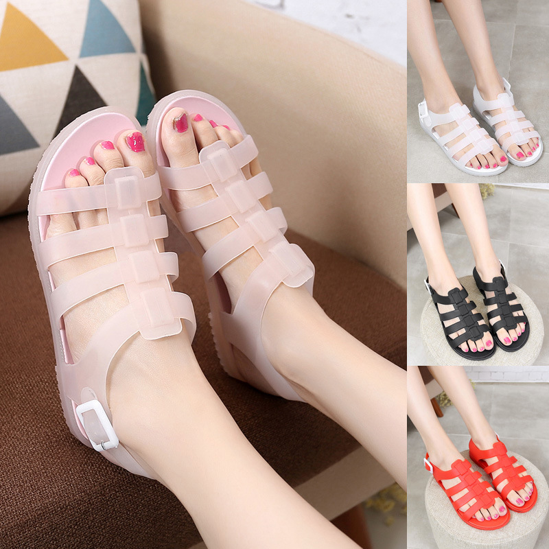 7d0b49e58dc2 2016 new Europe and the United States women s jelly plastic flat sandals  beach shoes-in Women s Sandals from Shoes on Aliexpress.com