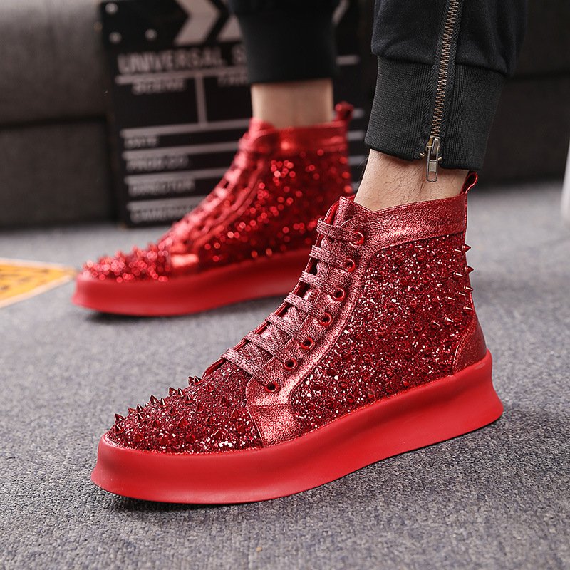 Leather Rivets Men Shoes High-Top Fashion Spike Sneakers Shoes Outdoors Flats Casuals Shoes Chaussure HommeLeather Rivets Men Shoes High-Top Fashion Spike Sneakers Shoes Outdoors Flats Casuals Shoes Chaussure Homme