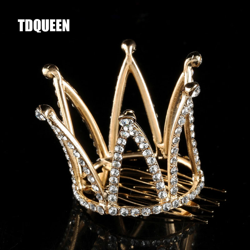 TDQUEEN Tiaras and Crowns with Comb Gold Color Kids Girls Mini Round Hair Jewelry Accessories Pageant Prom Princess Tiara Crown (3)