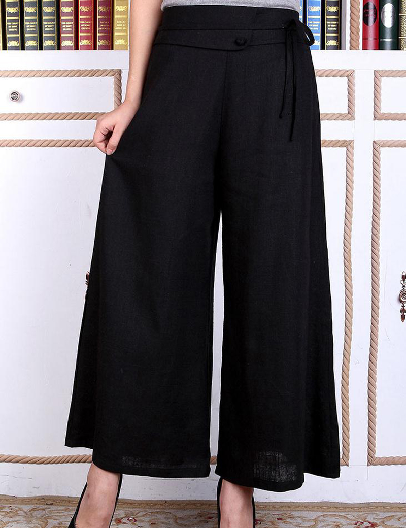 Mujer Pantalón Pantalones Ancho Algodón Sexy Negro Lino Mujeres nS1WwpT8qx 17616bf6f0bf