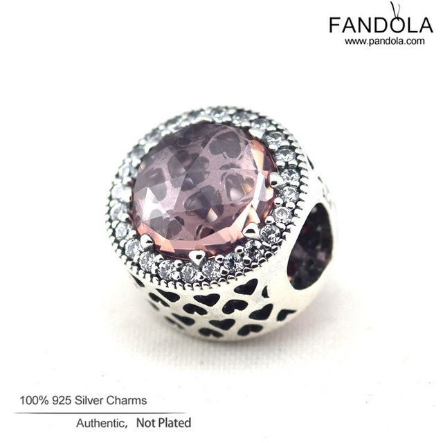 Fits Pandora Bracelets Pink Crystal Radiant Hearts Charm Beads Original 925 Sterling Silver Heart Bead Diy Fine Jewelry Making