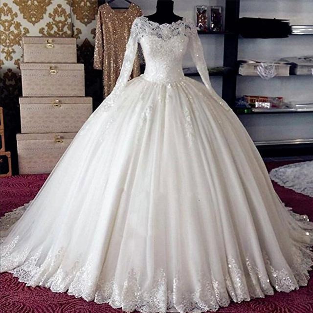 ออกแบบใหม่ BALL Gown ชุดแต่งงานตุรกี Vestidos de Noiva VINTAGE Gowns แต่งงานเจ้าสาวลูกไม้เจ้าสาว 2020 แขนยาว Gelinlik