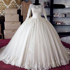 Image 1 - Robe de mariée en dentelle stylée, robe de mariée Vintage en turquie, manches longues, Gelinlik, nouvelle collection, 2020