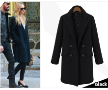 Simple All-match Double Breasted Women Woolen Coat, Medium Long Design Thickening Cotton Padded Wool Jacket