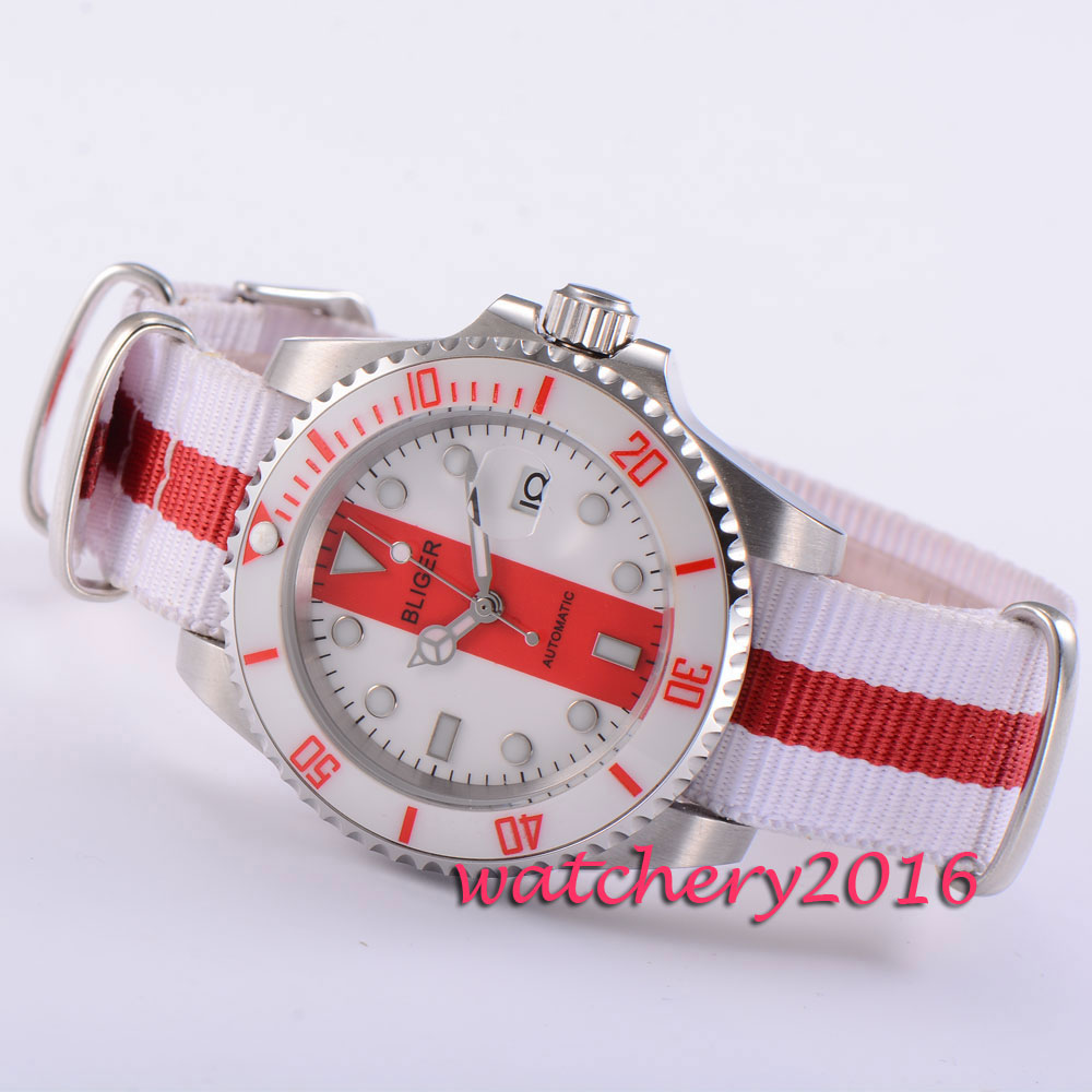 40mm BLIGER red & white dial date nylon strap top brand Luxury 2017 Newest Hot sapphire glass automatic movement men's watch