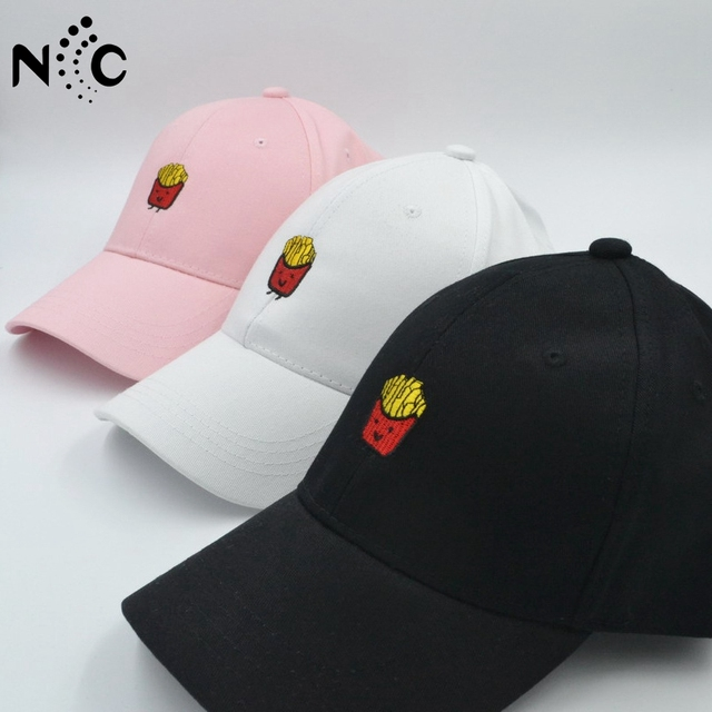 Cute French Fries Embroidery Baseball Cap Women Men Hip Hop Curved Snapback  Trucker Hat Summer Cap Black Pink dc28393970e9