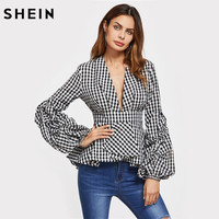 SHEIN Gathered Sleeve Box Pleated Striped Plunging Peplum Top Black And White Plaid Deep V Neck