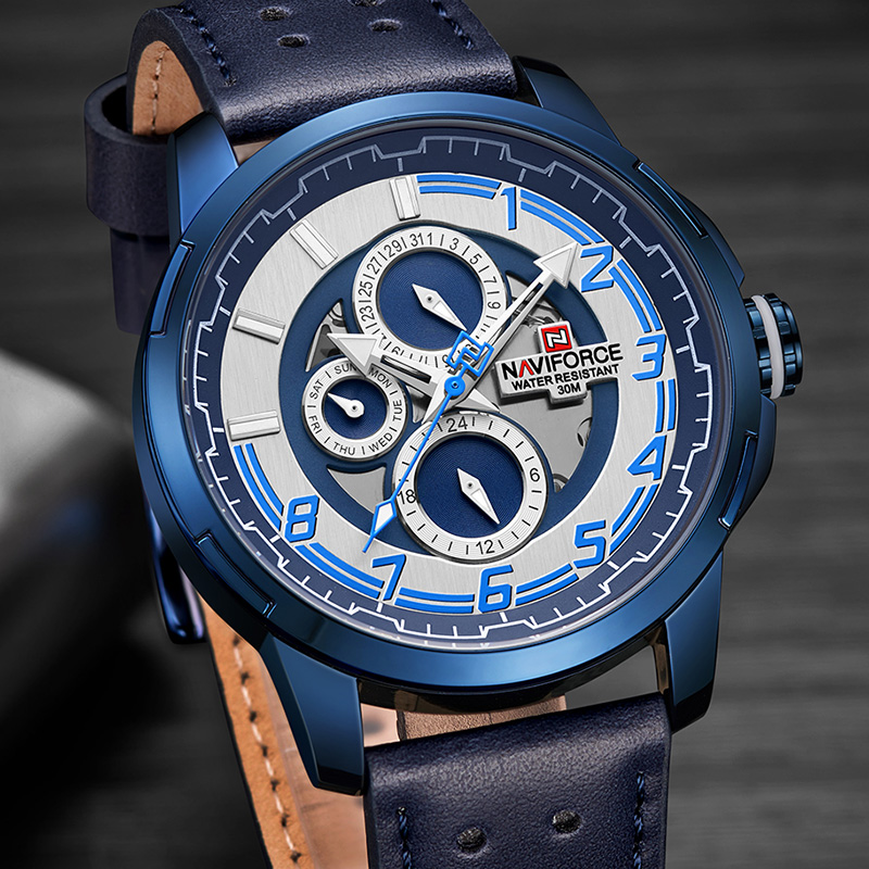 NAVIFORCE Luxury Men Quartz Watch Brand Men's Fashion Casual Watches Genuine Leather Waterproof Calendar 24 Hour Wristwatches все цены