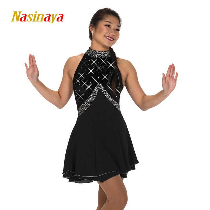 Платье для фигурного катания под заказ, платье для соревнований по фигурному катанию юбки для конькобежцев, для девочек, для выступлений, черная длинная юбка