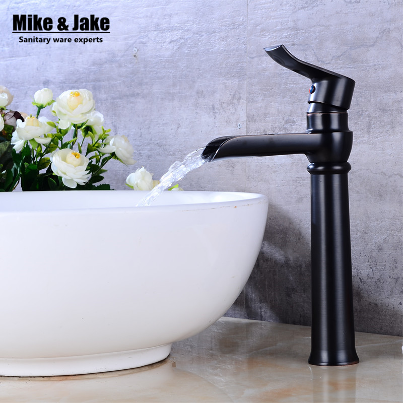 Black waterfall sink tap bathroom faucet basin sink tap antique brass black waterfall faucet mixer tap Vintage water faucet antique brass centerest bathroom sink faucet waterfall basin mixer tap