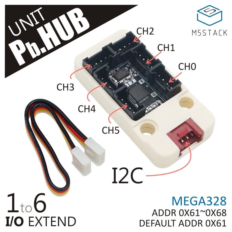 New Arrival! M5Stack Official I/O Hub 1 To 6 Expansion Grove I/O Interface For Arduino Blockly Development IoT MEGA328 Module