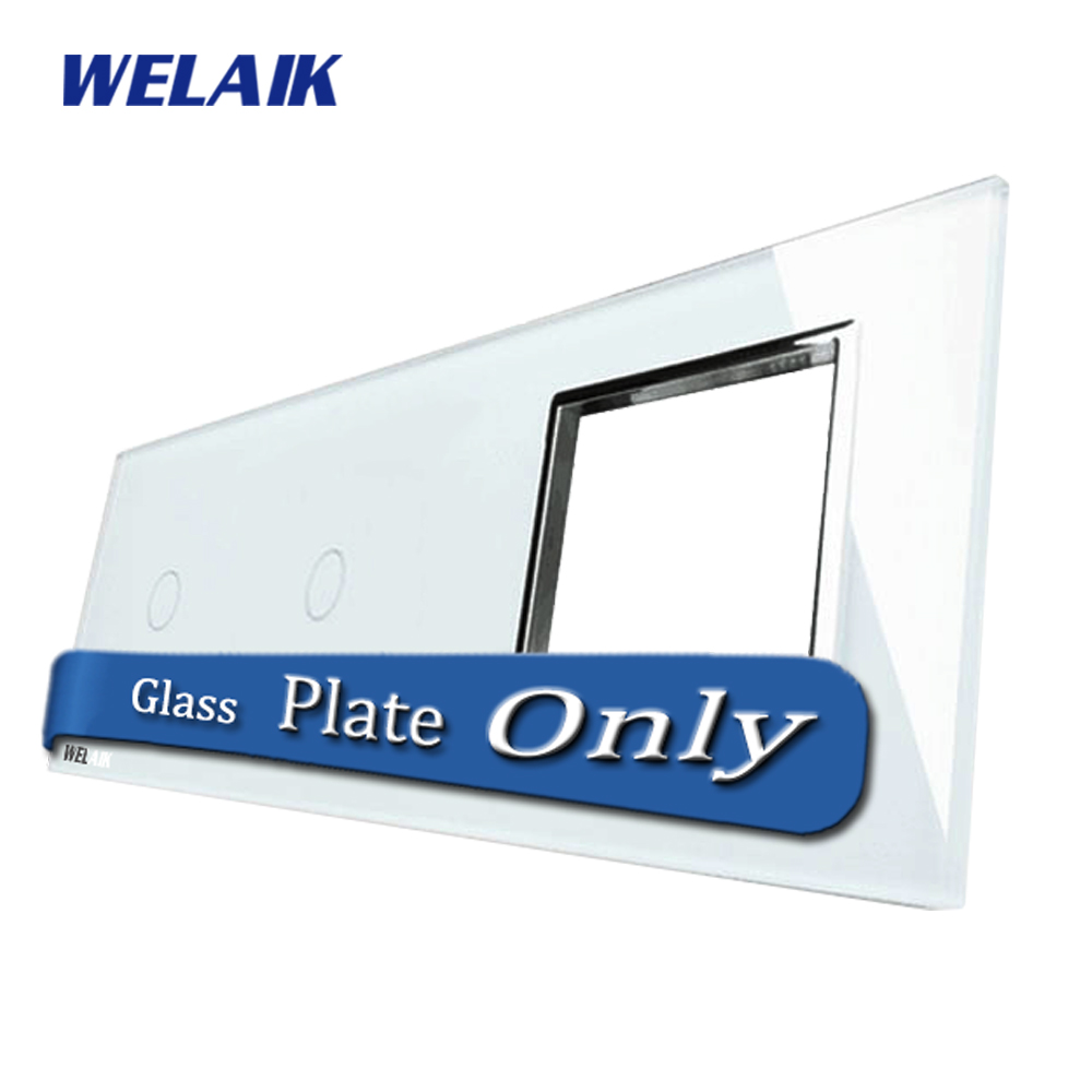 WELAIK  Touch Switch DIY Parts  Glass Panel Only of Wall Light Switch Black White Crystal Glass Panel Square hole  A39118W/B1 welaik crystal glass panel switch white wall switch eu remote control touch switch light switch 1gang2way ac110 250v a1914w b