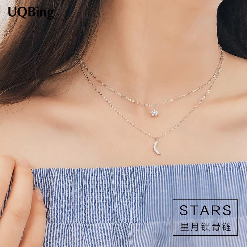 New Arrivals 925 Sterling Silver Double Chain Necklace Rhinestone Crystal Moon Star Necklace Pendant Colgante Pingente de plata tom tailor tom tailor 103410140302000