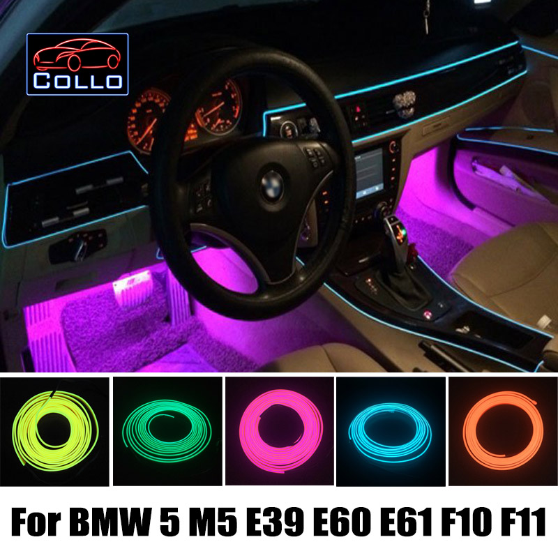 Car Decoration Cold Light Atmosphere Lamp / 9 M EL Wire For BMW 5 M5 E39 E60 E61 F10 F11 / Central Control Desk Decorative Strip