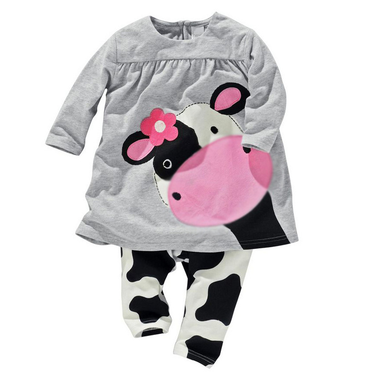 2014 vestidos manufactory retail clothing set Cow modeling clothes cotton casual long-sleeved T-shirt+Pants suit Tracksuit 2pcs retail girls baby clothes little cow modeling clothes 100% cotton casual t shirt pants suit tracksuit 2